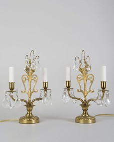 Brass Table Lamps with Crystal Prisms