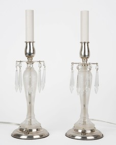 Etched glass candelabra