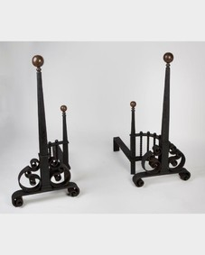 Iron and brass andirons