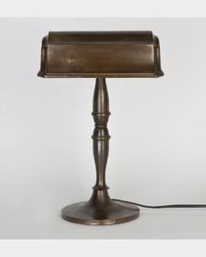 Darkened brass desk lamp
