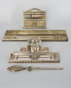 Silverplate desk set