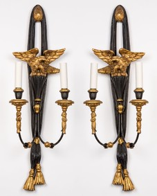 Black and gilt wood sconces