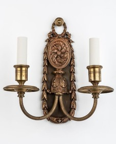 Darkened brass sconces