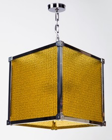 Marlowe 16 Lantern With Antique Caillou D'or Glass