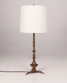 Turned brass table lamp