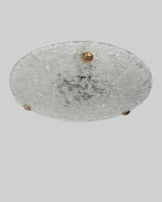 Textured glass flush mount