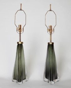 Green Orrefors lamps