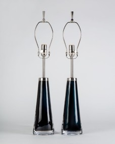 Dark blue Orrefors lamps