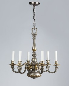 Nickel and brass chandelier