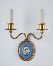 Gold and enamel sconces