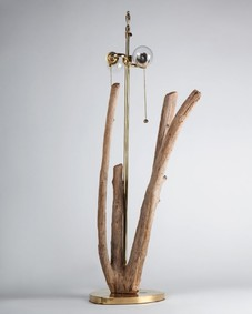 Branching Driftwood and Brass Lamp
