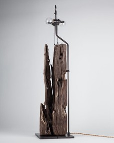 Tall Dark Driftwood and Bronze Lamp