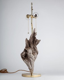 Flame Driftwood and Brass lamp