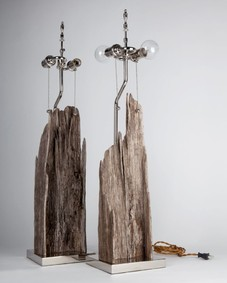 Pair of Driftwood and Nickel Lamps