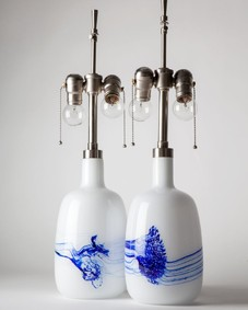 Blue and White Glass Le Klint Table Lamps