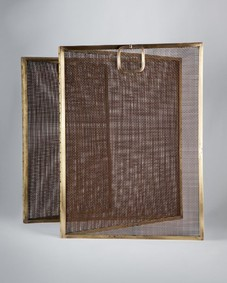 Brass modernist fire screen