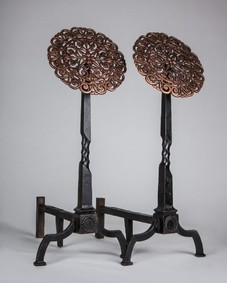 Copper and iron andirons