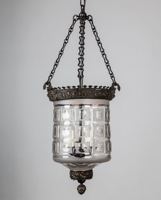 Cut glass bell jar lantern