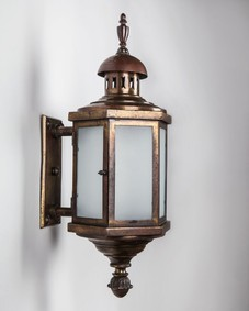 Hexagonal Aged Bronze Wall Lantern with Frosted Glass