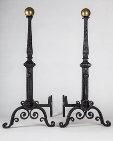 Large wrought iron andirons