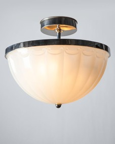 Opaline Glass and Nickel Semi-Flush Mount
