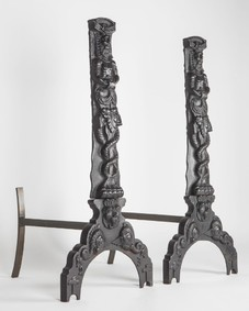 Blackened Iron Figural Andirons