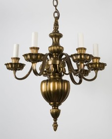 Six Arm Bronze Linenfold Chandelier